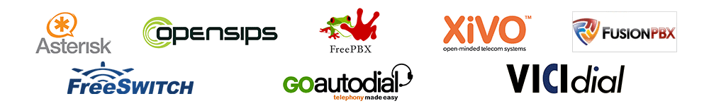 Logos Asterisk Freeswitch FreePBX XIVO FusionPBX Goautodial Vicidial OpensipsCP CDRTOOLS